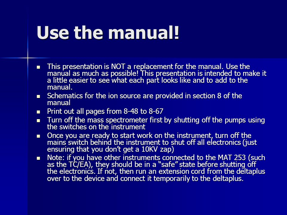 Use the manual!