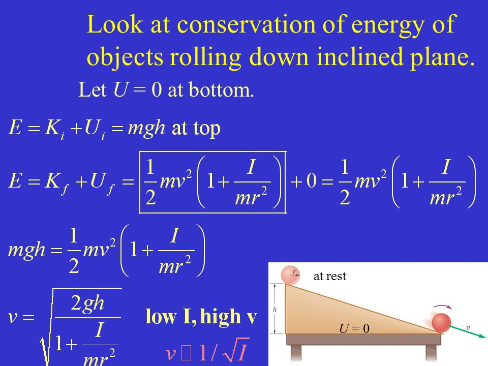 Look at conservation of energy of objects rolling down inclined plane.