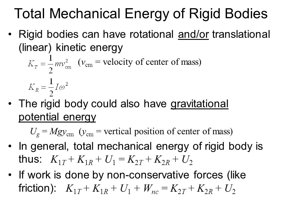 Total Mechanical Energy of Rigid Bodies