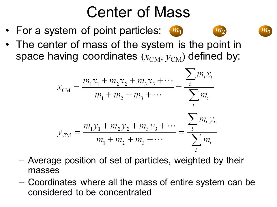 Center of Mass For a system of point particles:
