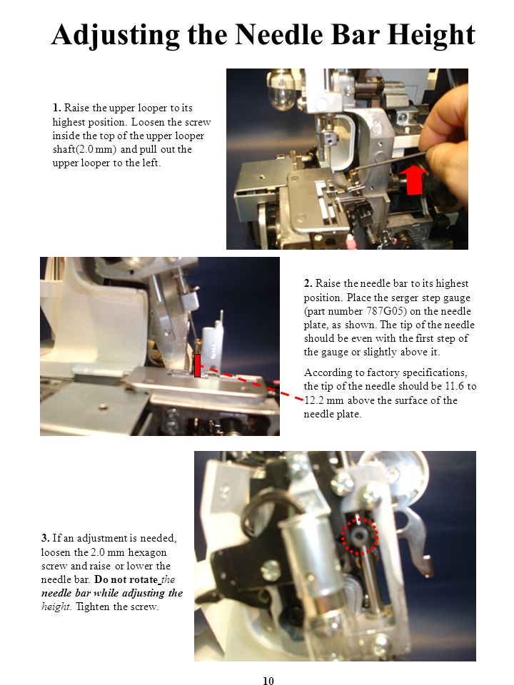 Adjusting the Needle Bar Height