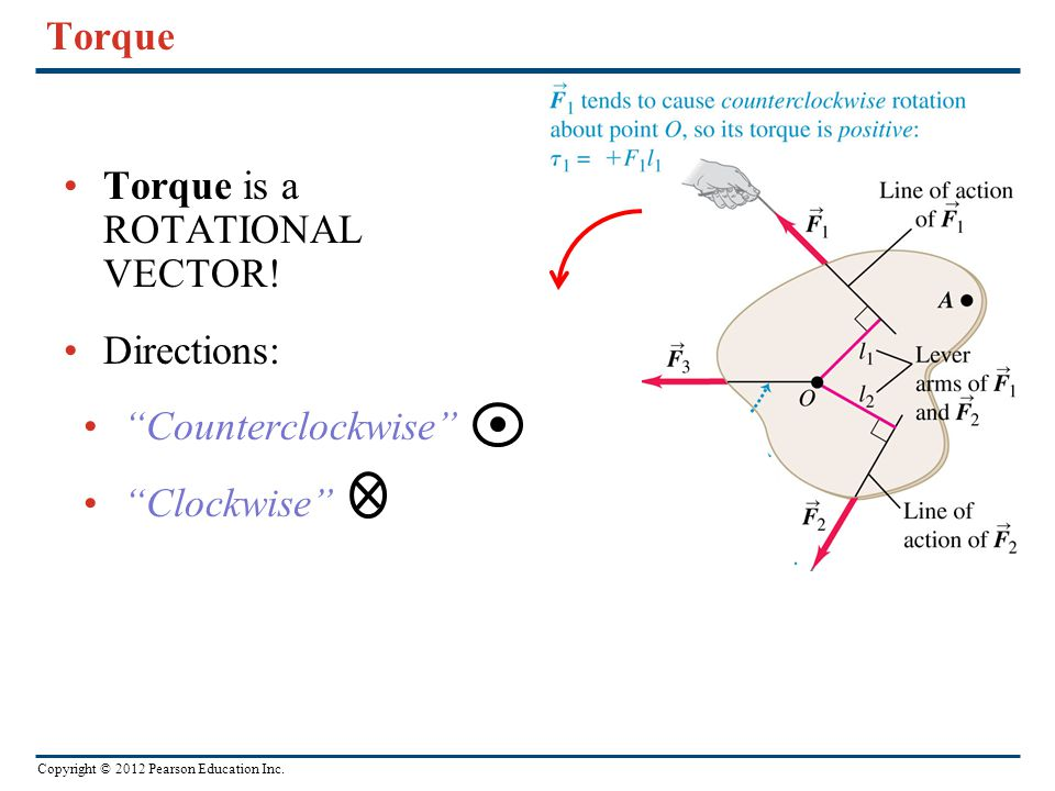 Torque Torque is a ROTATIONAL VECTOR! Directions: Counterclockwise Clockwise