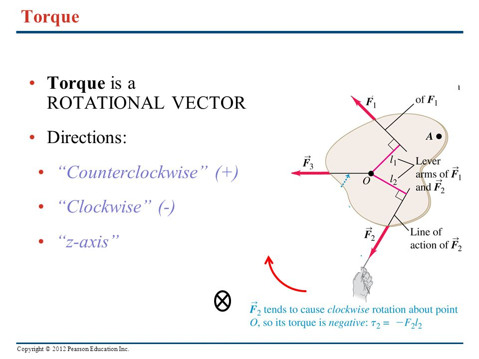 Torque Torque is a ROTATIONAL VECTOR! Directions: Counterclockwise (+) Clockwise (-) z-axis