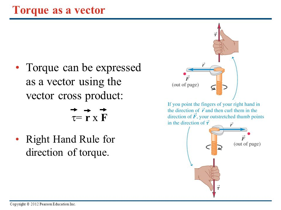 Torque can be expressed as a vector using the vector cross product: