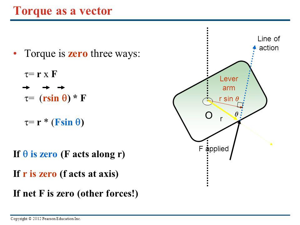 Torque as a vector Torque is zero three ways: