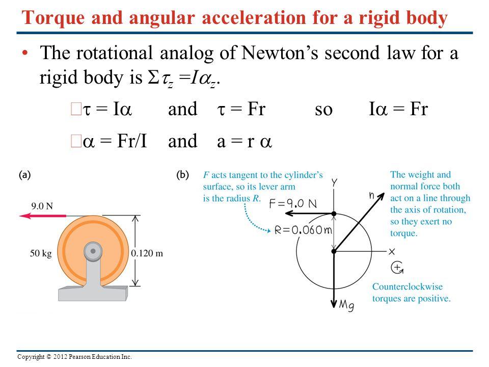 Torque and angular acceleration for a rigid body
