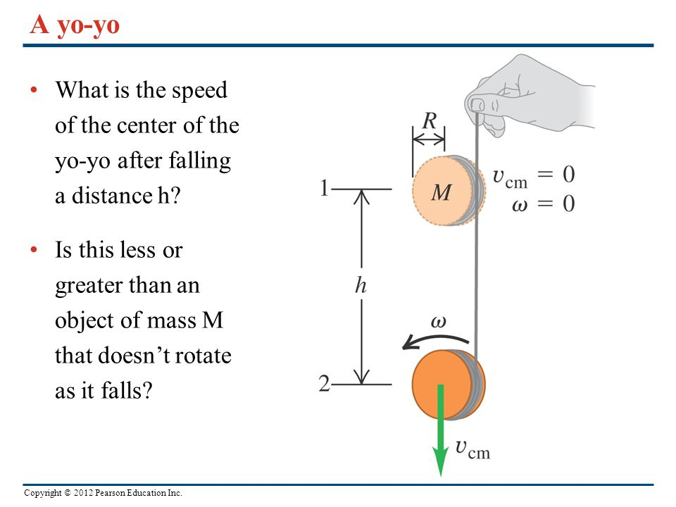 A yo-yo What is the speed of the center of the yo-yo after falling a distance h