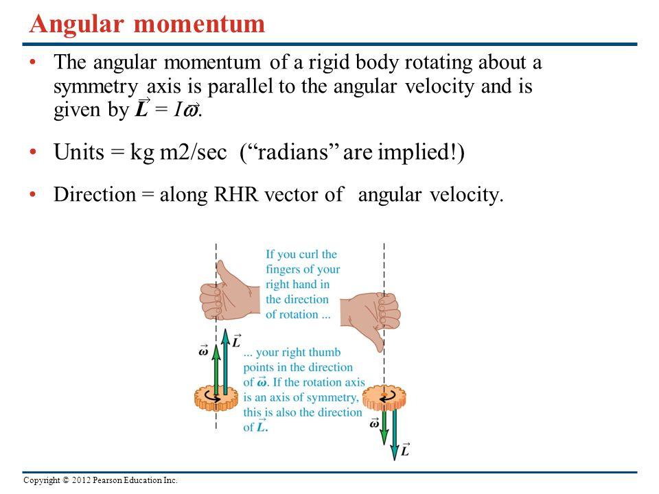 Angular momentum Units = kg m2/sec ( radians are implied!)
