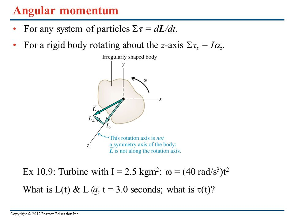 Angular momentum For any system of particles  = dL/dt.