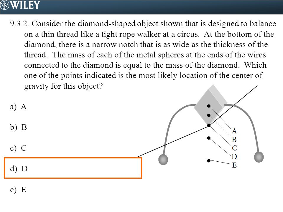 9.3.2. Consider the diamond-shaped object shown that is designed to balance on a thin thread like a tight rope walker at a circus. At the bottom of the diamond, there is a narrow notch that is as wide as the thickness of the thread. The mass of each of the metal spheres at the ends of the wires connected to the diamond is equal to the mass of the diamond. Which one of the points indicated is the most likely location of the center of gravity for this object