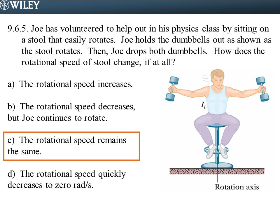 9.6.5. Joe has volunteered to help out in his physics class by sitting on a stool that easily rotates. Joe holds the dumbbells out as shown as the stool rotates. Then, Joe drops both dumbbells. How does the rotational speed of stool change, if at all