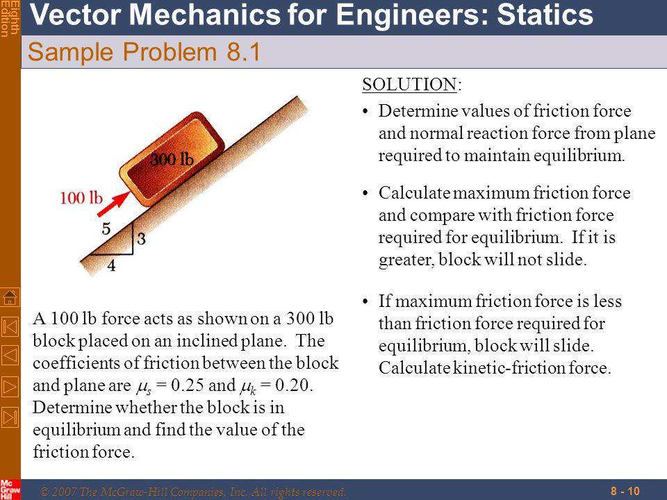 Sample Problem 8.1 SOLUTION: