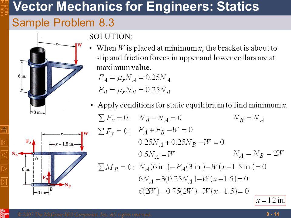 Sample Problem 8.3 SOLUTION: