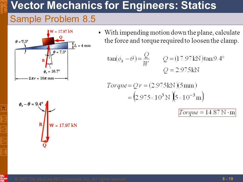 Sample Problem 8.5 With impending motion down the plane, calculate the force and torque required to loosen the clamp.