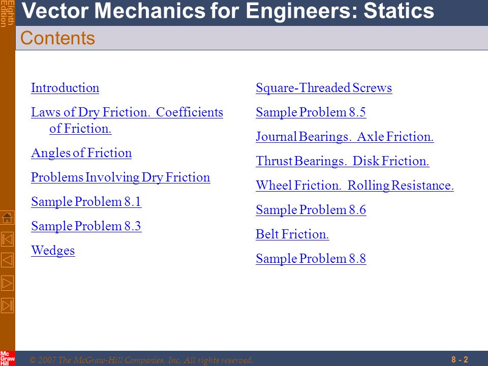 Contents Introduction Laws of Dry Friction. Coefficients of Friction.