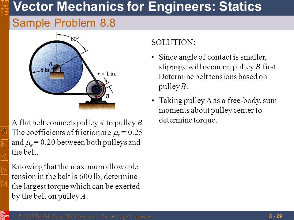 Sample Problem 8.8 SOLUTION:
