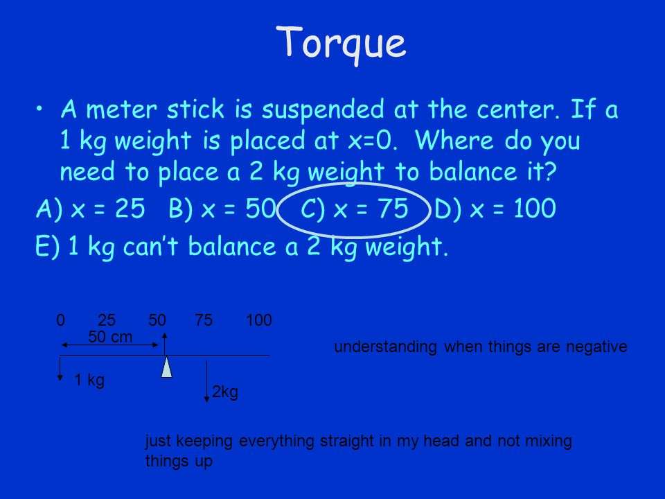 Torque A meter stick is suspended at the center. If a 1 kg weight is placed at x=0. Where do you need to place a 2 kg weight to balance it