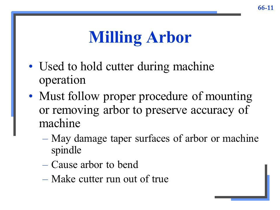 Milling Arbor Used to hold cutter during machine operation