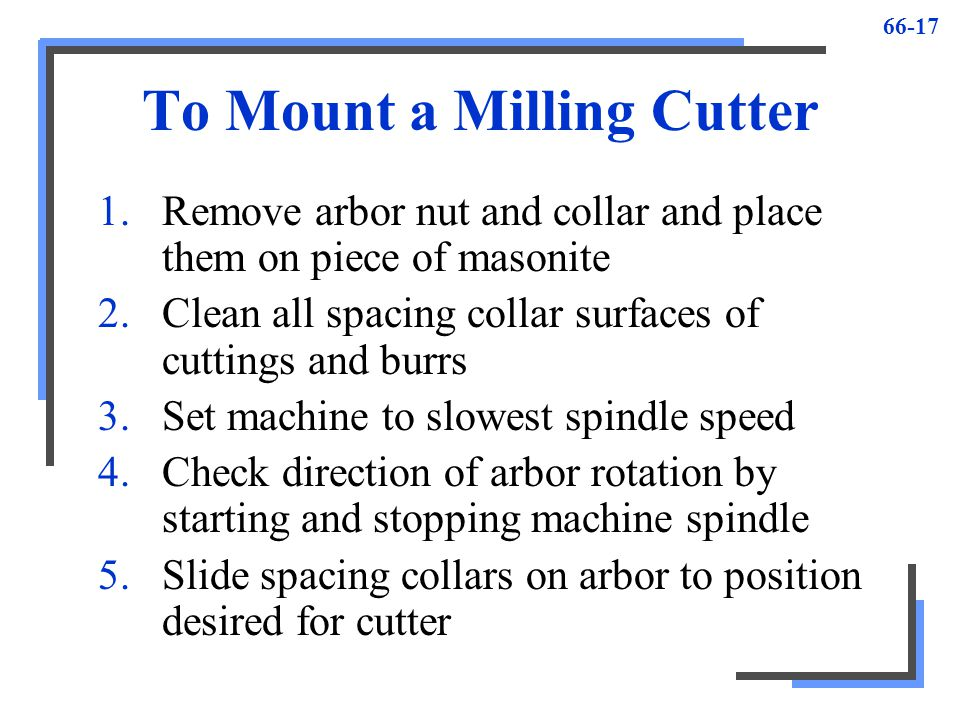 To Mount a Milling Cutter
