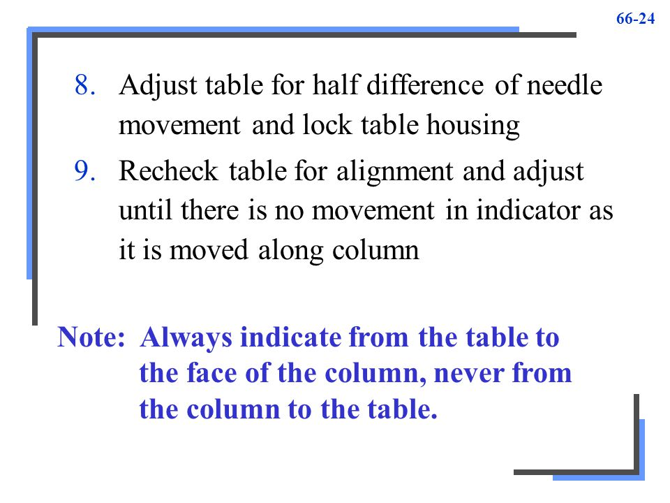 Adjust table for half difference of needle movement and lock table housing