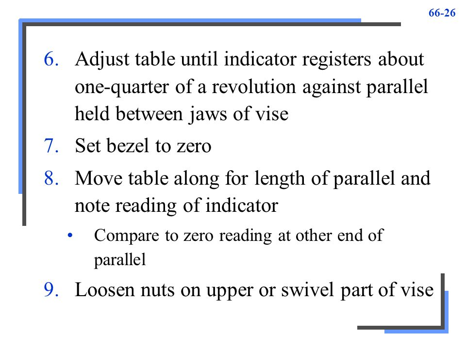 Move table along for length of parallel and note reading of indicator