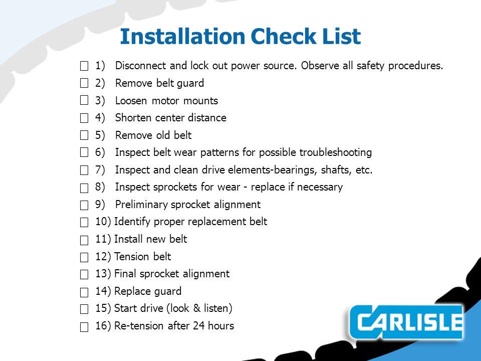 Installation Check List