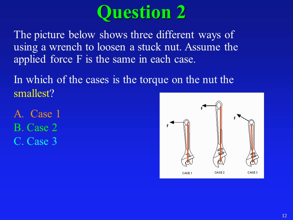 Question 2 The picture below shows three different ways of using a wrench to loosen a stuck nut. Assume the applied force F is the same in each case.
