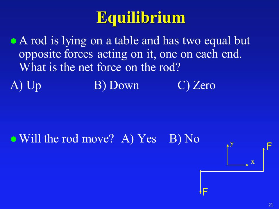 Equilibrium A rod is lying on a table and has two equal but opposite forces acting on it, one on each end. What is the net force on the rod
