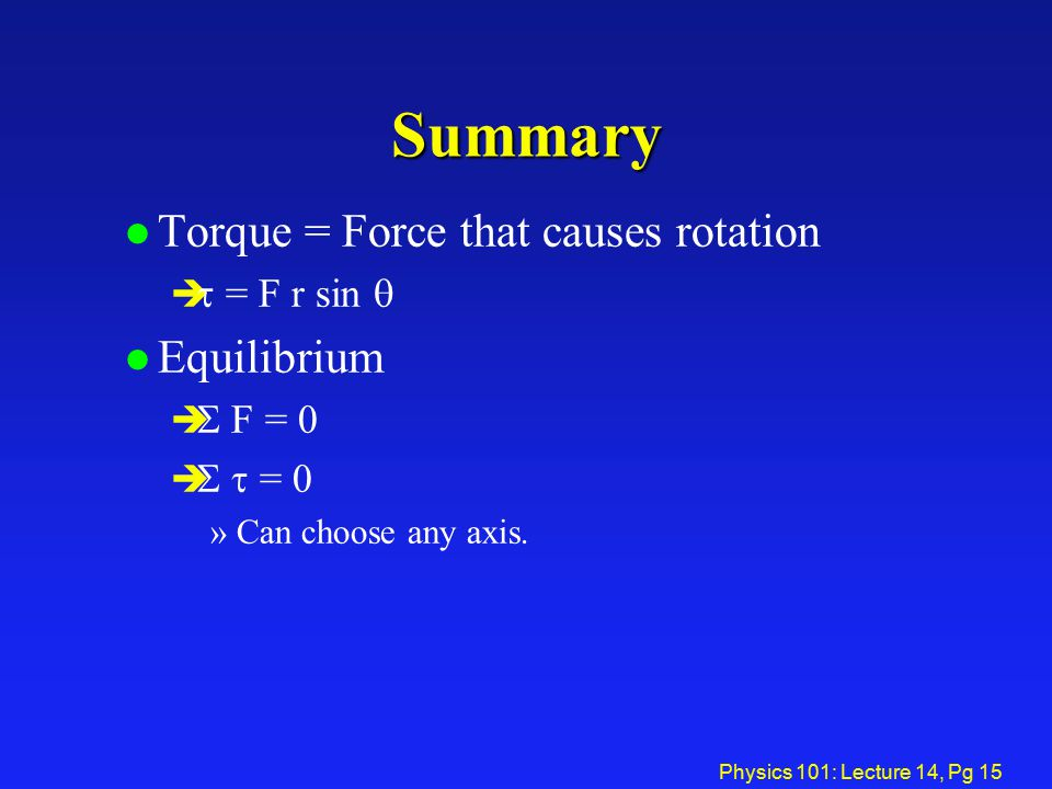 Summary Torque = Force that causes rotation Equilibrium t = F r sin q