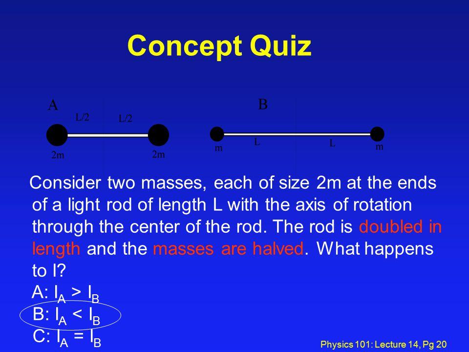 Concept Quiz A: IA > IB B: IA < IB C: IA = IB
