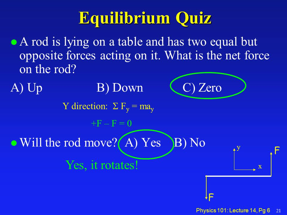 Equilibrium Quiz A rod is lying on a table and has two equal but opposite forces acting on it. What is the net force on the rod