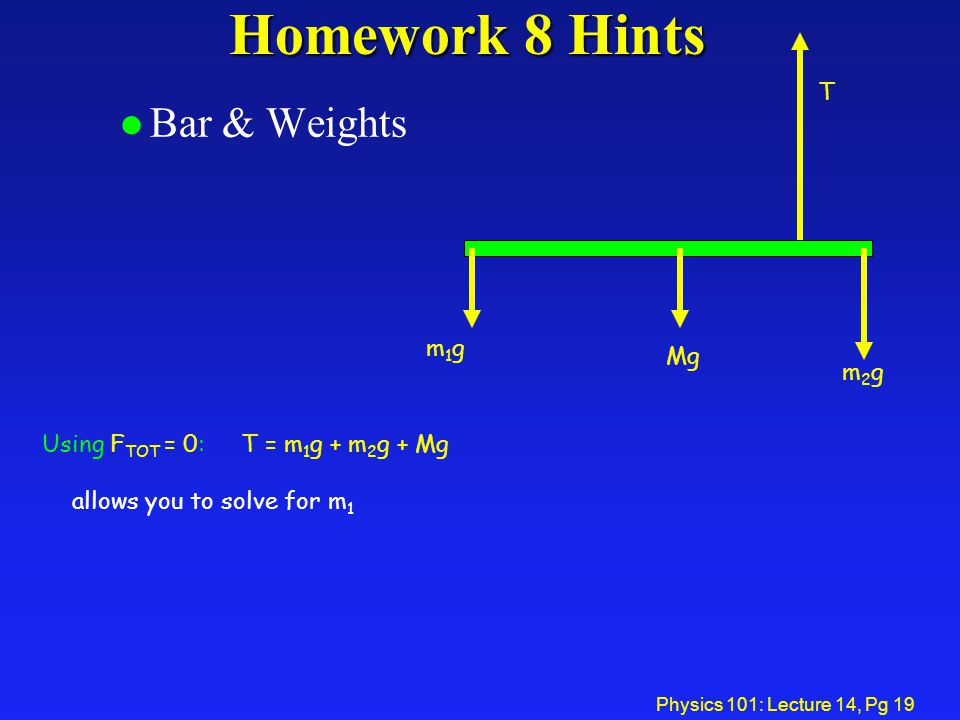 Homework 8 Hints Bar & Weights T m1g Mg m2g