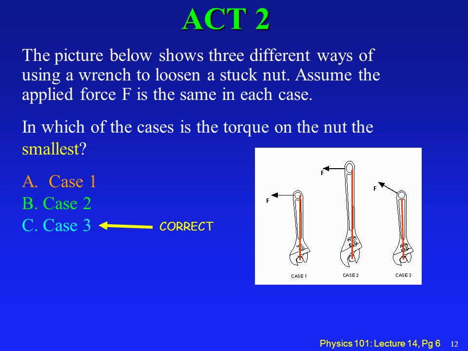 ACT 2 The picture below shows three different ways of using a wrench to loosen a stuck nut. Assume the applied force F is the same in each case.