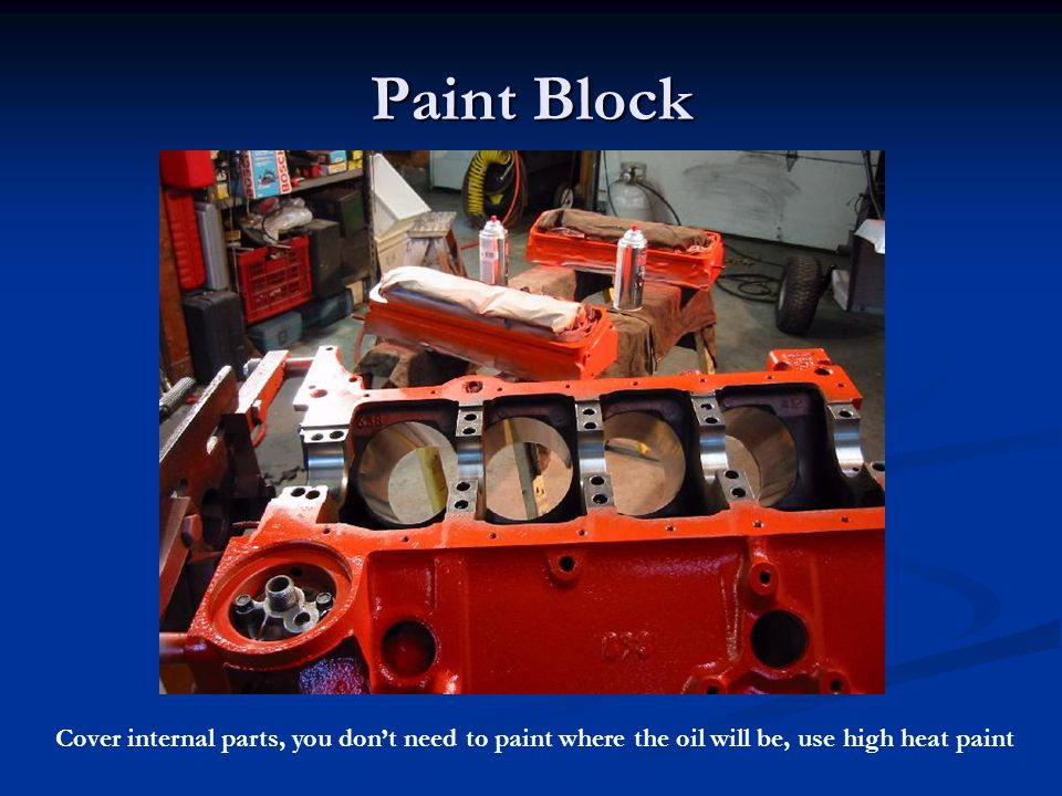 Paint Block Cover internal parts, you don't need to paint where the oil will be, use high heat paint.