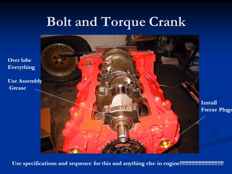 Bolt and Torque Crank Over lube Everything Use Assembly Grease Install