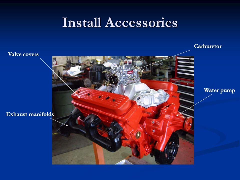 Install Accessories Carburetor Valve covers Water pump