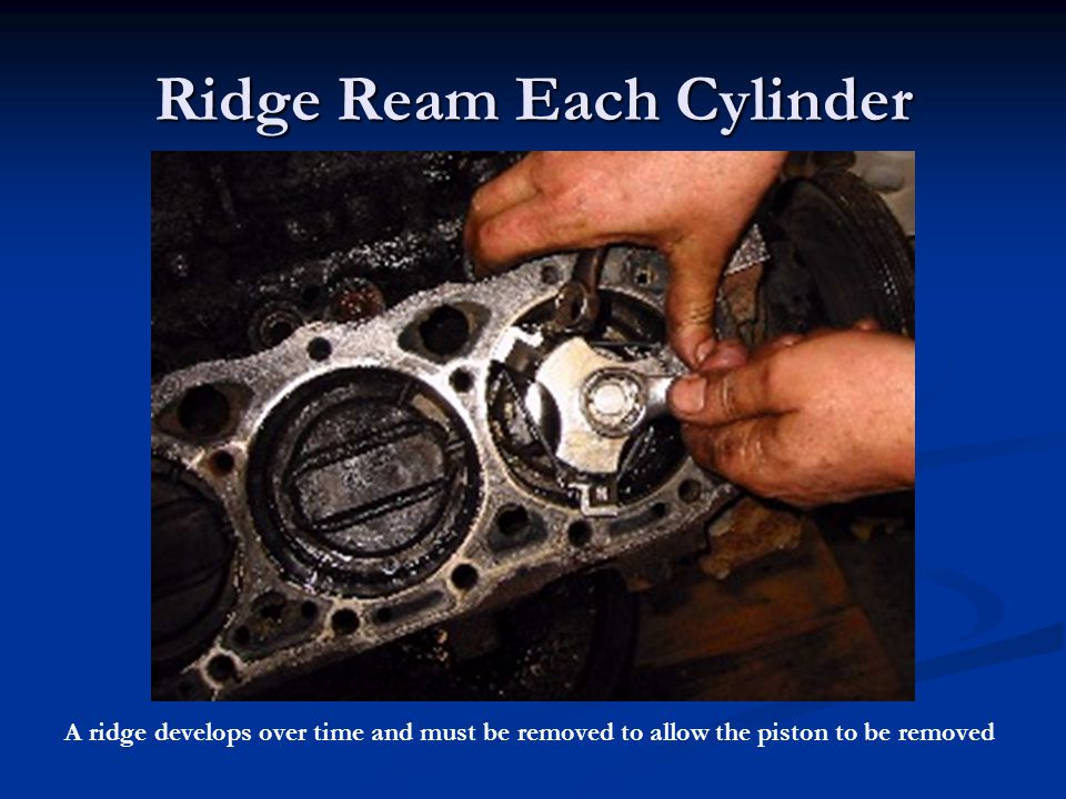Ridge Ream Each Cylinder
