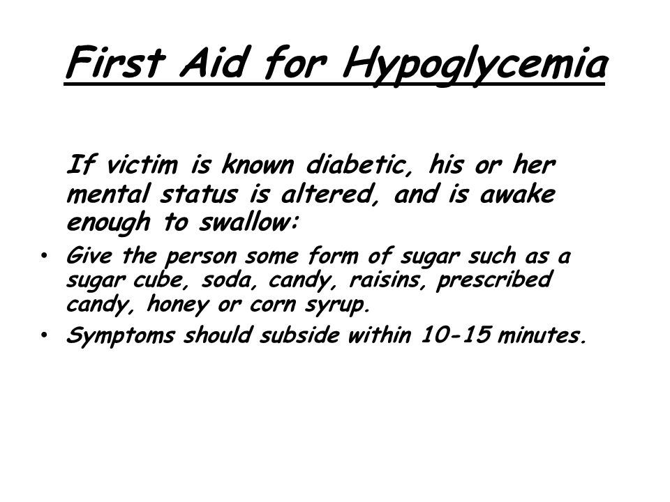 First Aid for Hypoglycemia