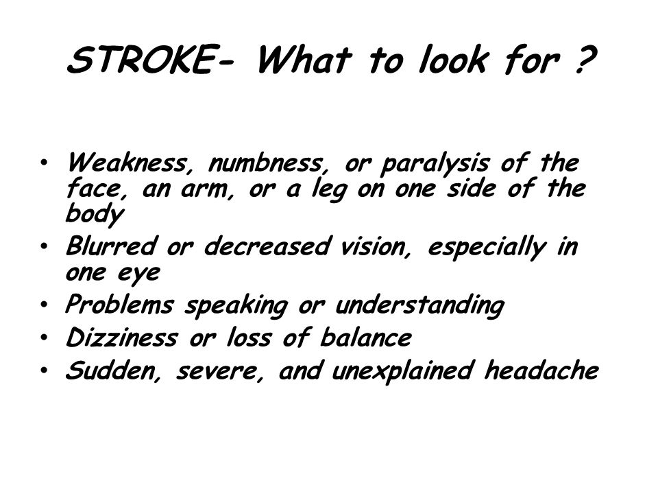 STROKE- What to look for