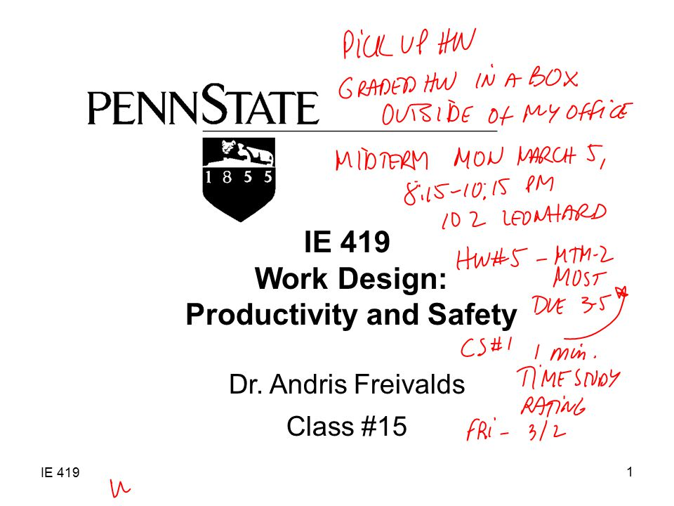 Work Design: Productivity and Safety