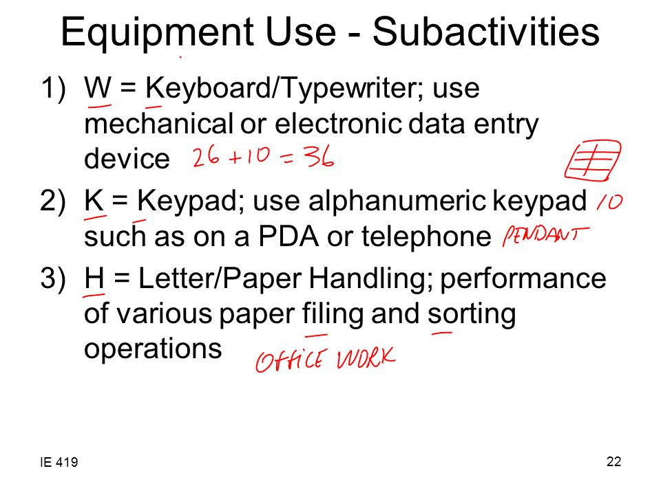 Equipment Use - Subactivities