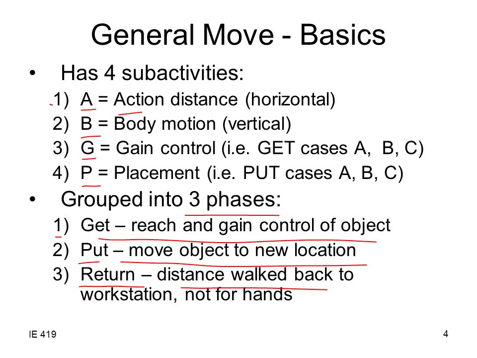 General Move - Basics Has 4 subactivities: Grouped into 3 phases: