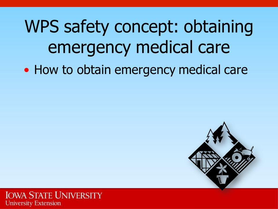 WPS safety concept: obtaining emergency medical care