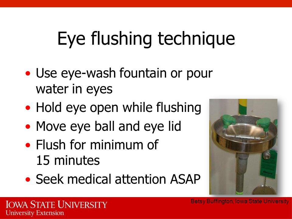 Eye flushing technique