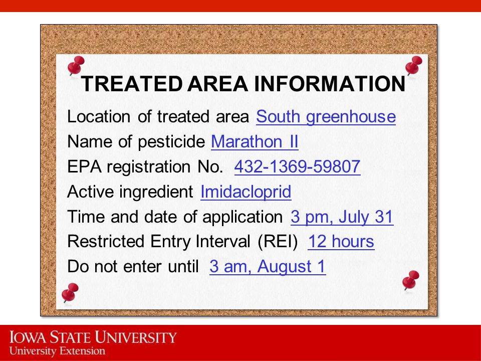 TREATED AREA INFORMATION
