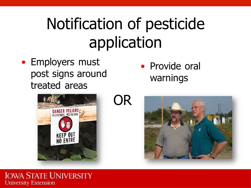 Notification of pesticide application