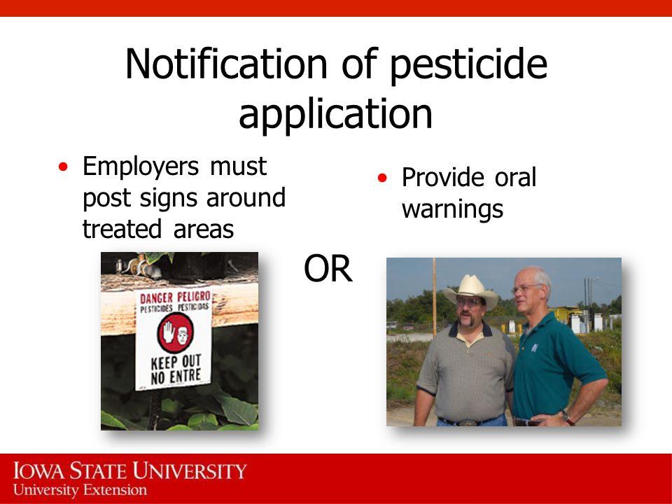 Notification of pesticide application