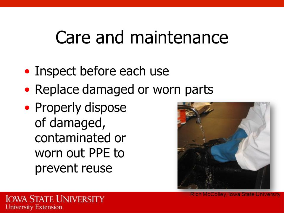 Care and maintenance Inspect before each use