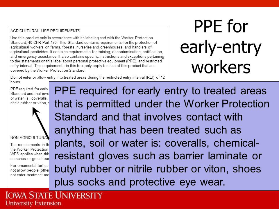 PPE for early-entry workers