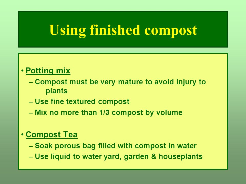 Using finished compost